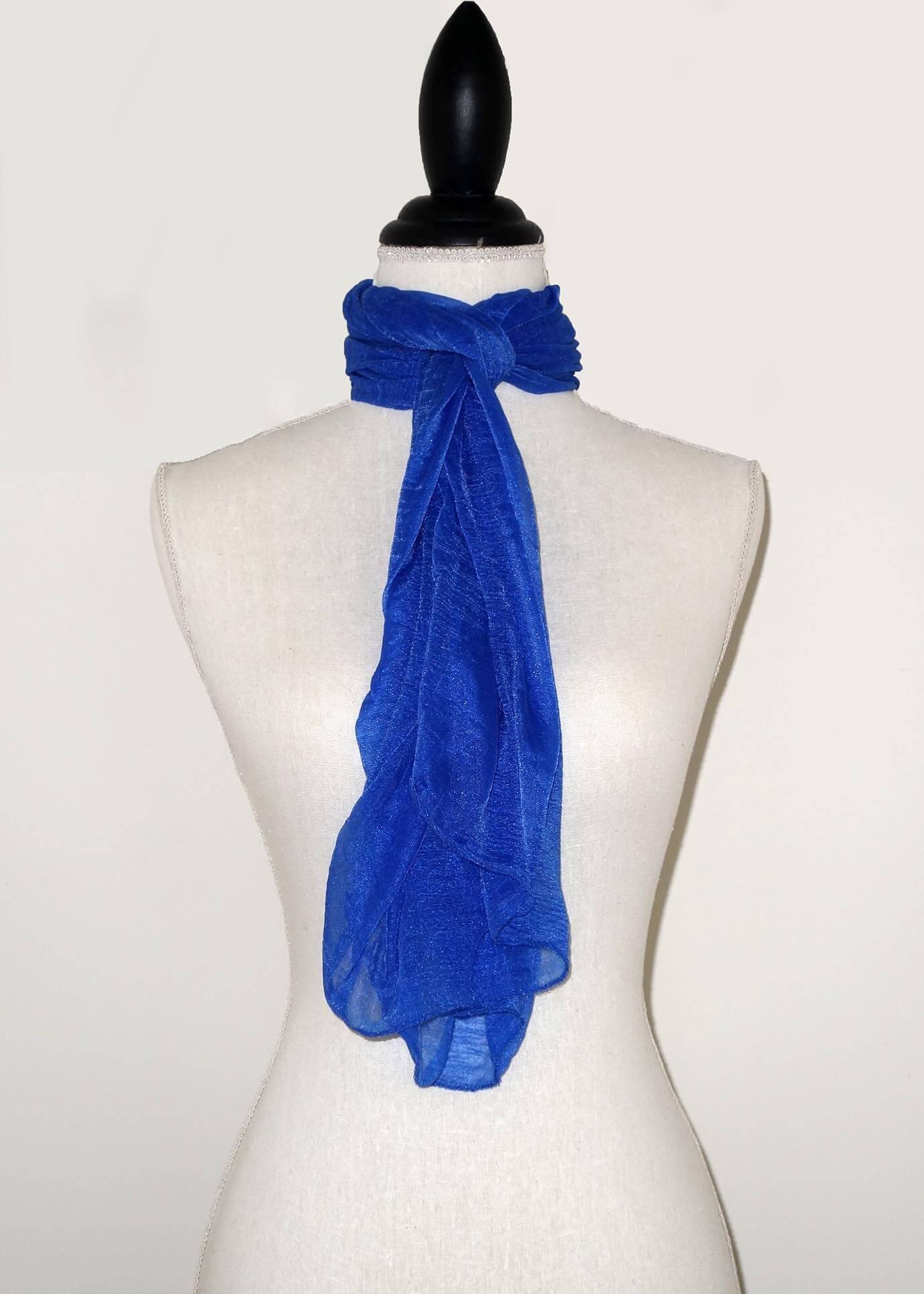 Blauwe Effen Langwerpige Sjaal -0