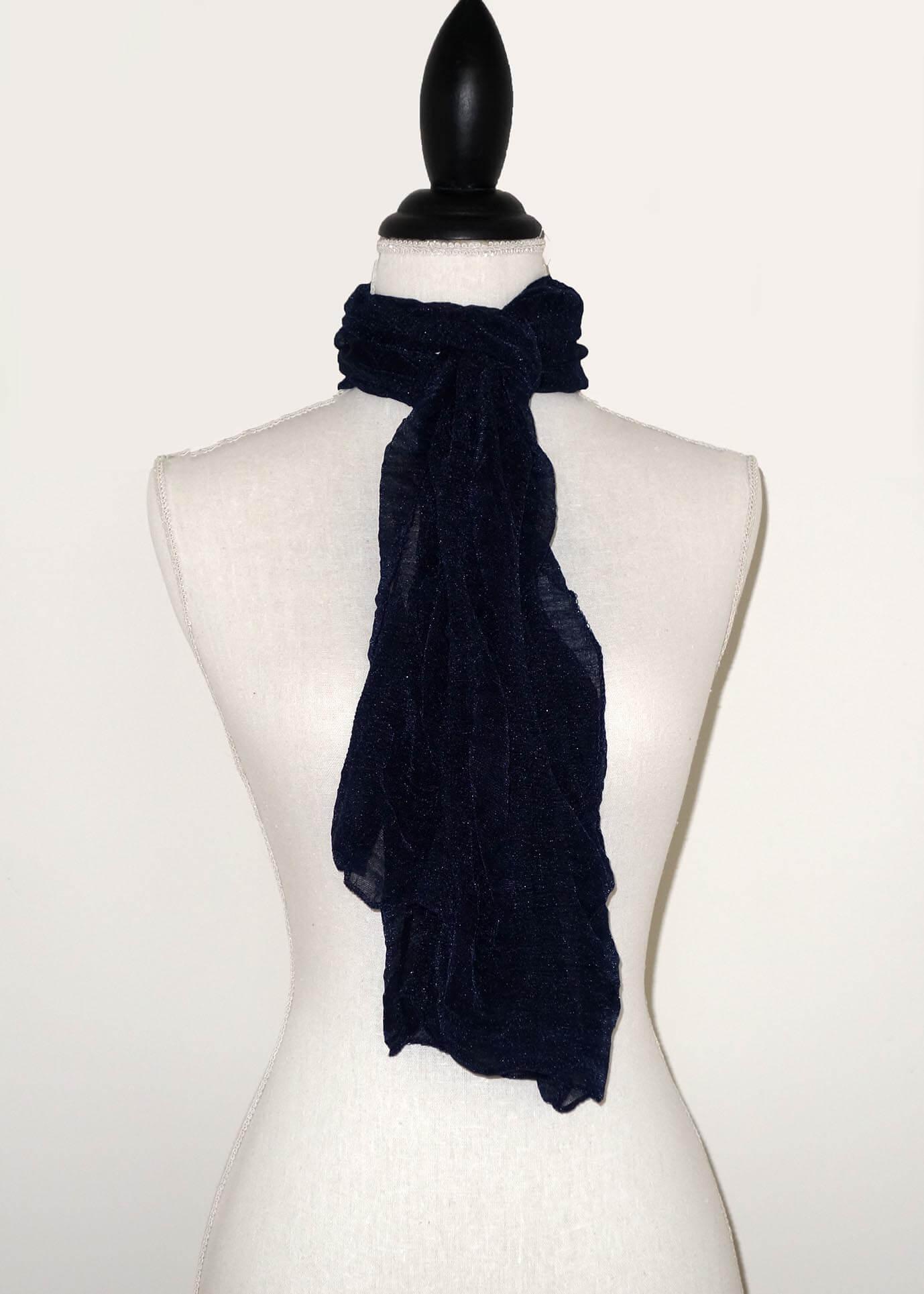 Donker Blauwe Effen Langwerpige Sjaal -0