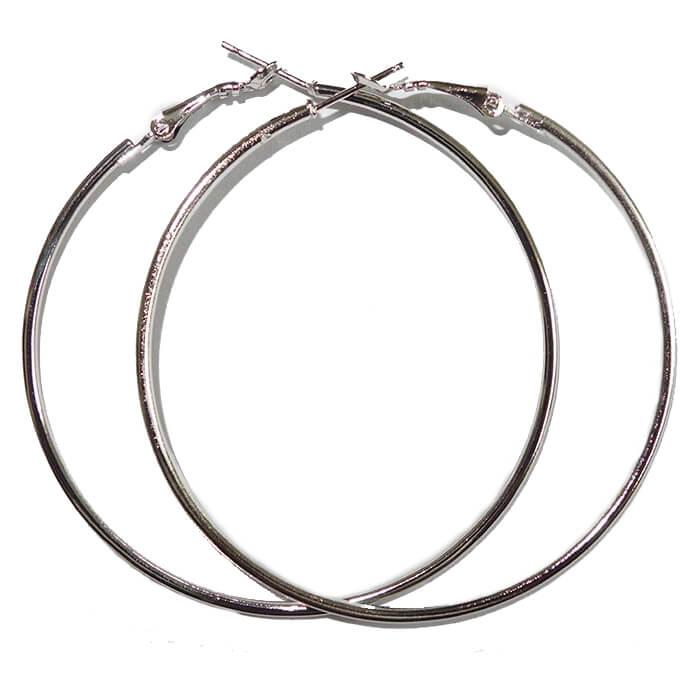 Zilverkleurige Creolen 6 cm-0