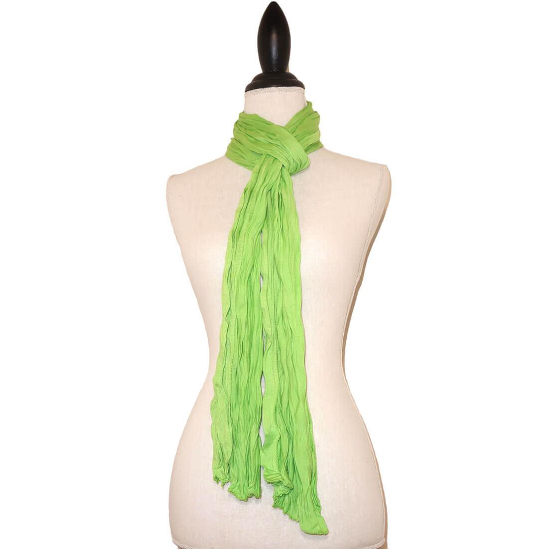 Lime Groene Effen Tricot Langwerpige Sjaal-0