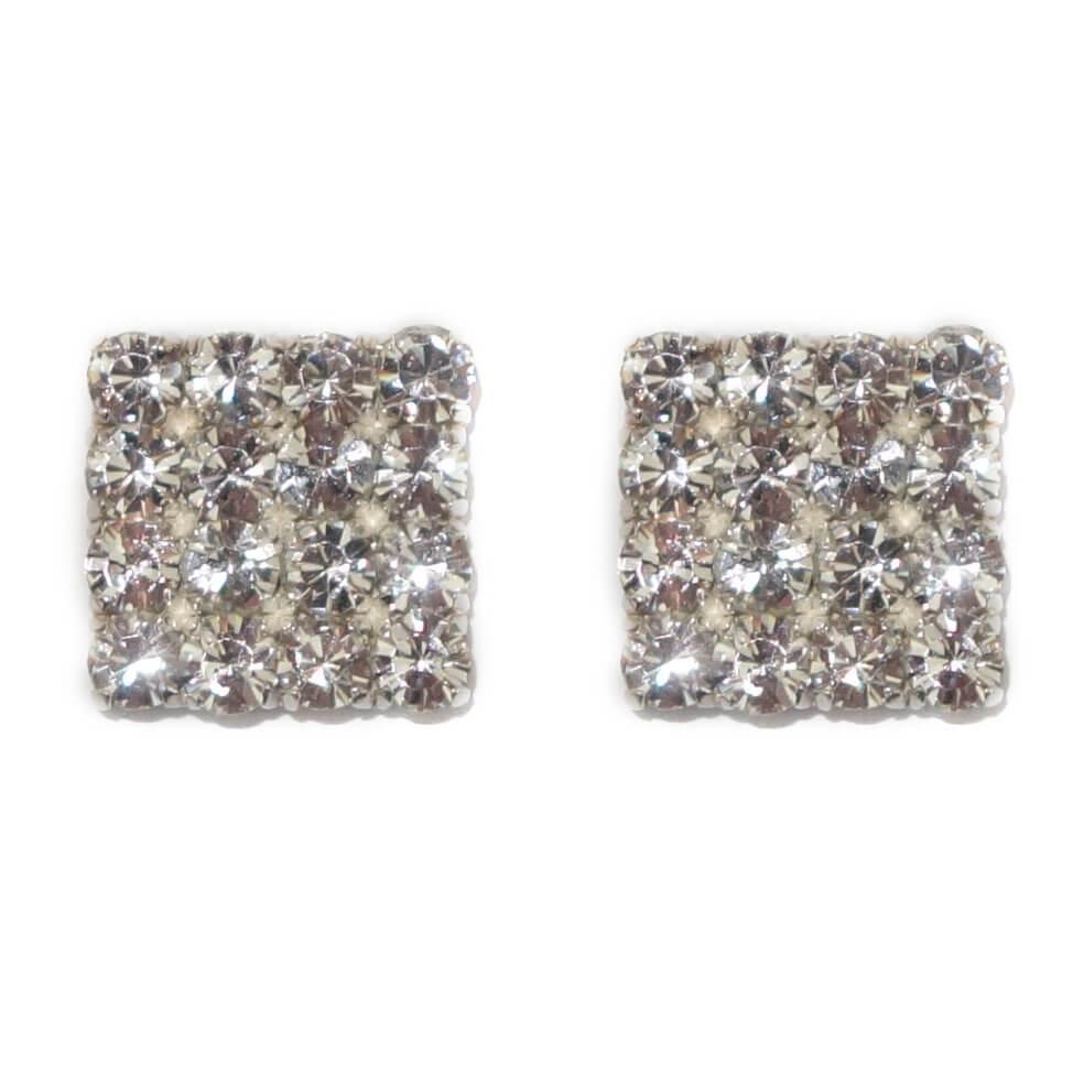 Vierkante Oorbellen met 16 Strass Steentjes -0