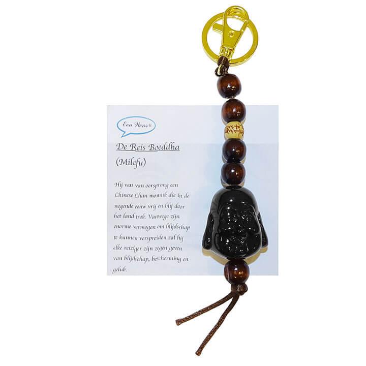 De Reis Boeddha Sleutelhanger Zwart