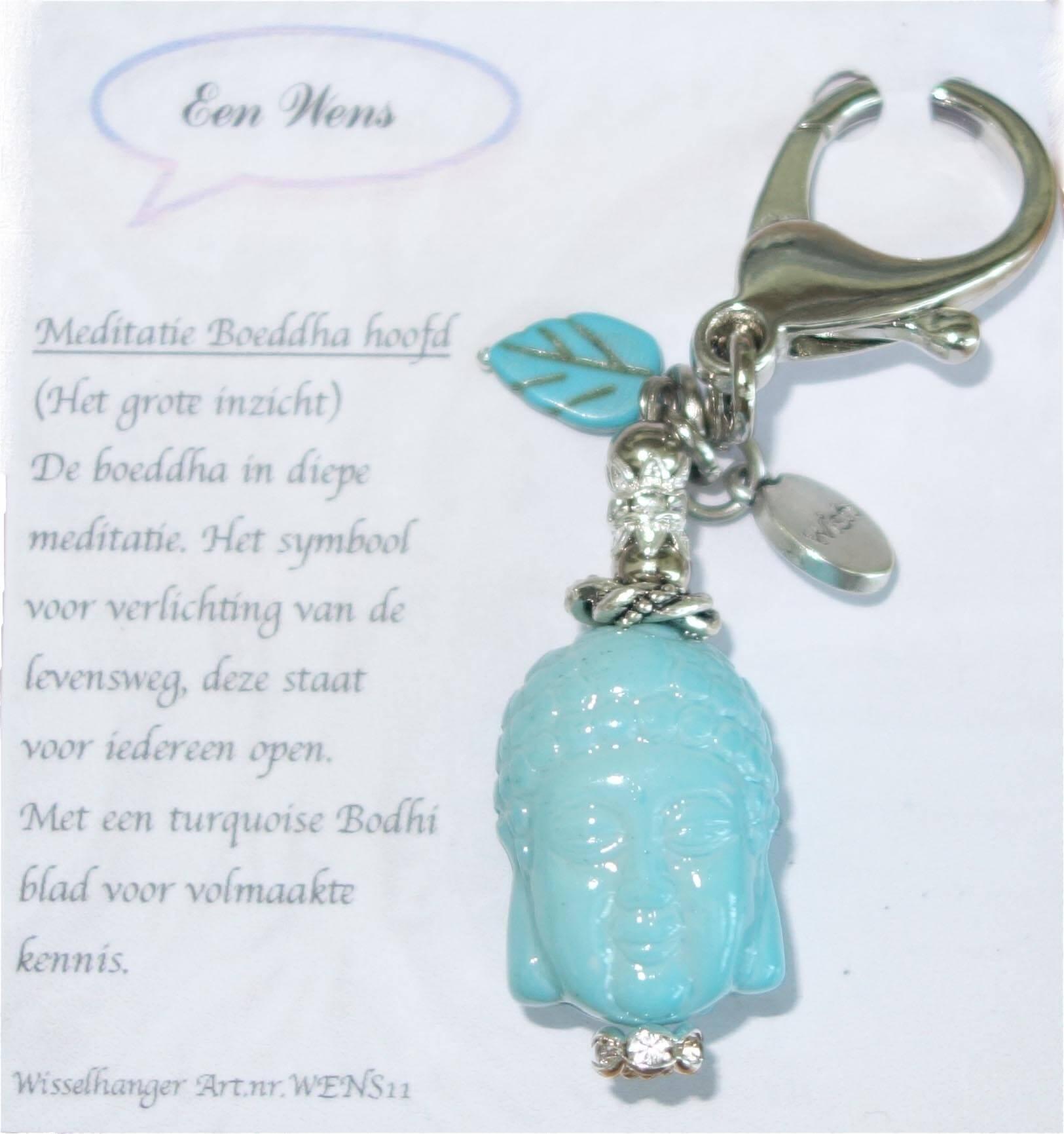 De Meditatie Boeddha Hoofd Sleutelhanger Licht Blauw-0