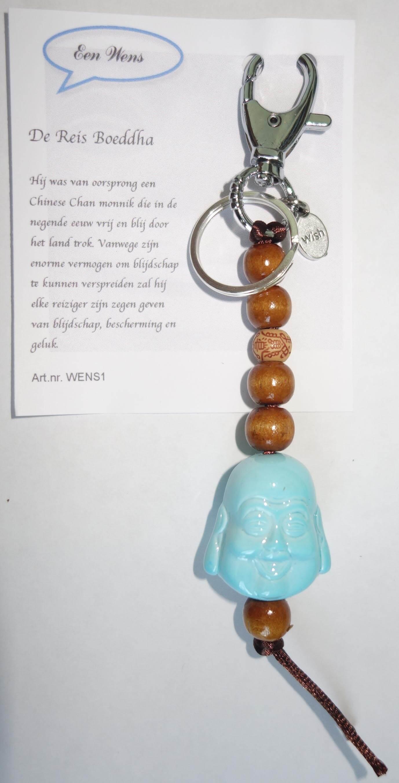 De Reis Boeddha Sleutelhanger Licht Blauw-0