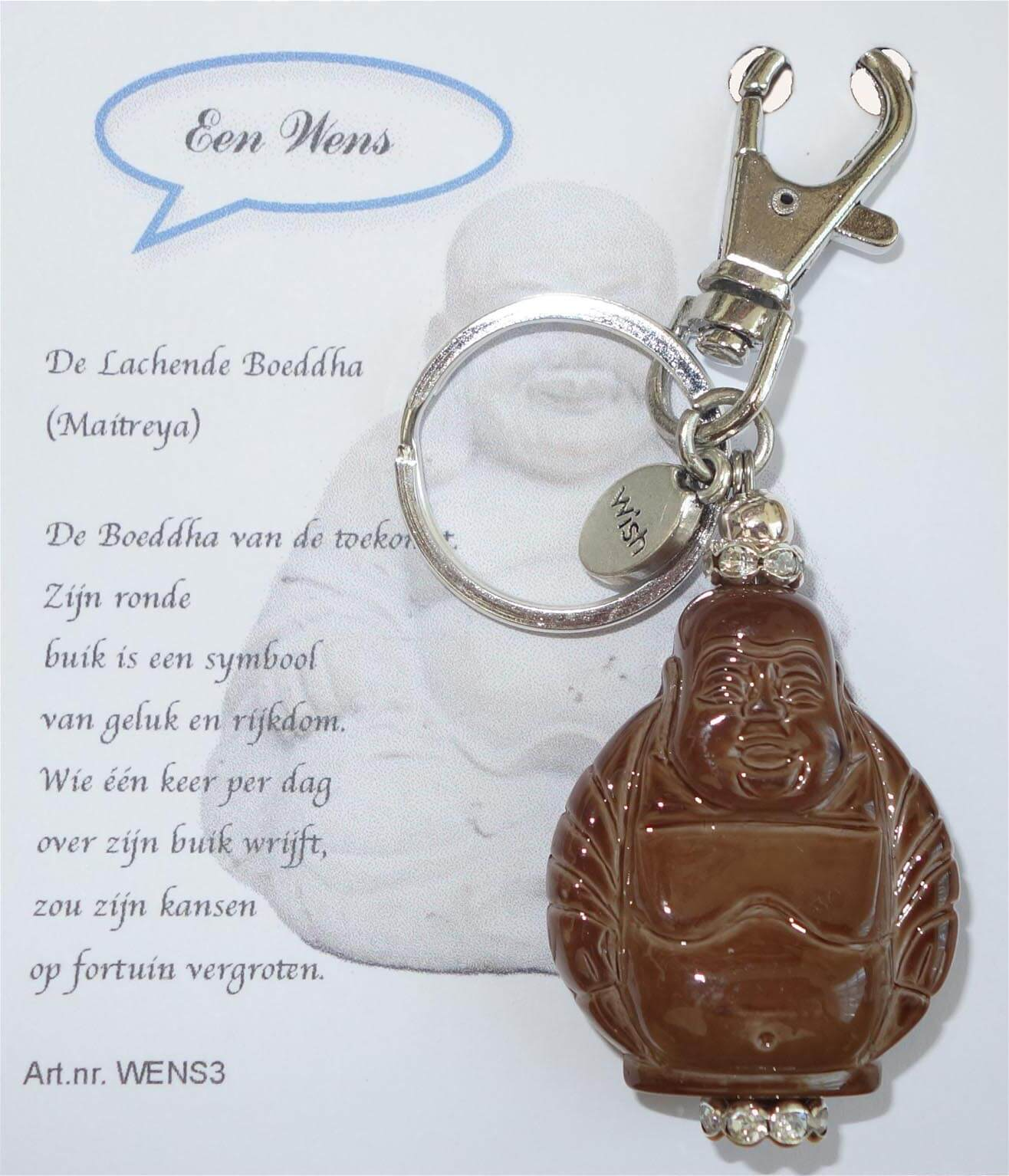 De Lachende Boeddha (Maitreya) Sleutelhanger Bruin-0