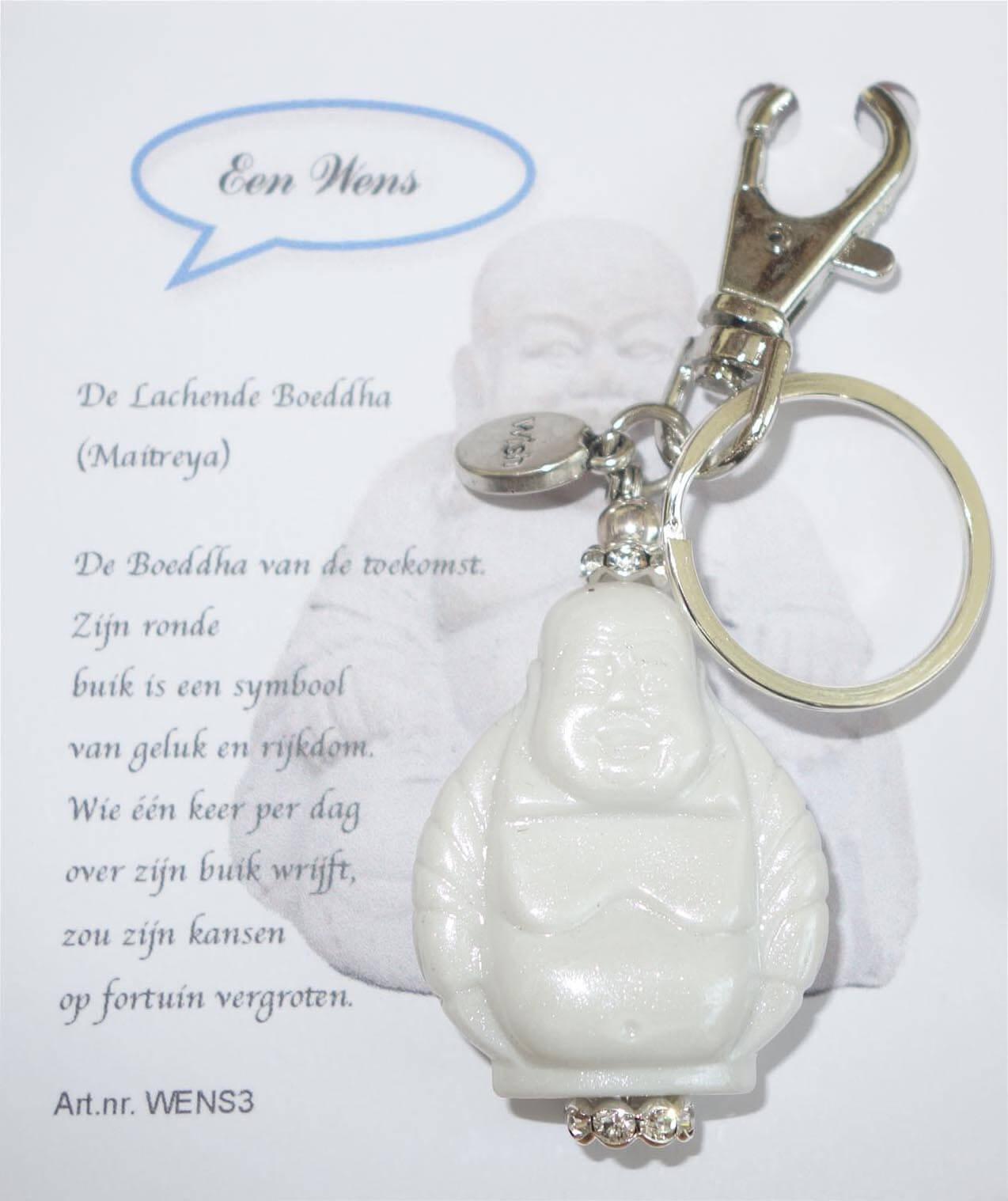 De Lachende Boeddha (Maitreya) Sleutelhanger Wit-0