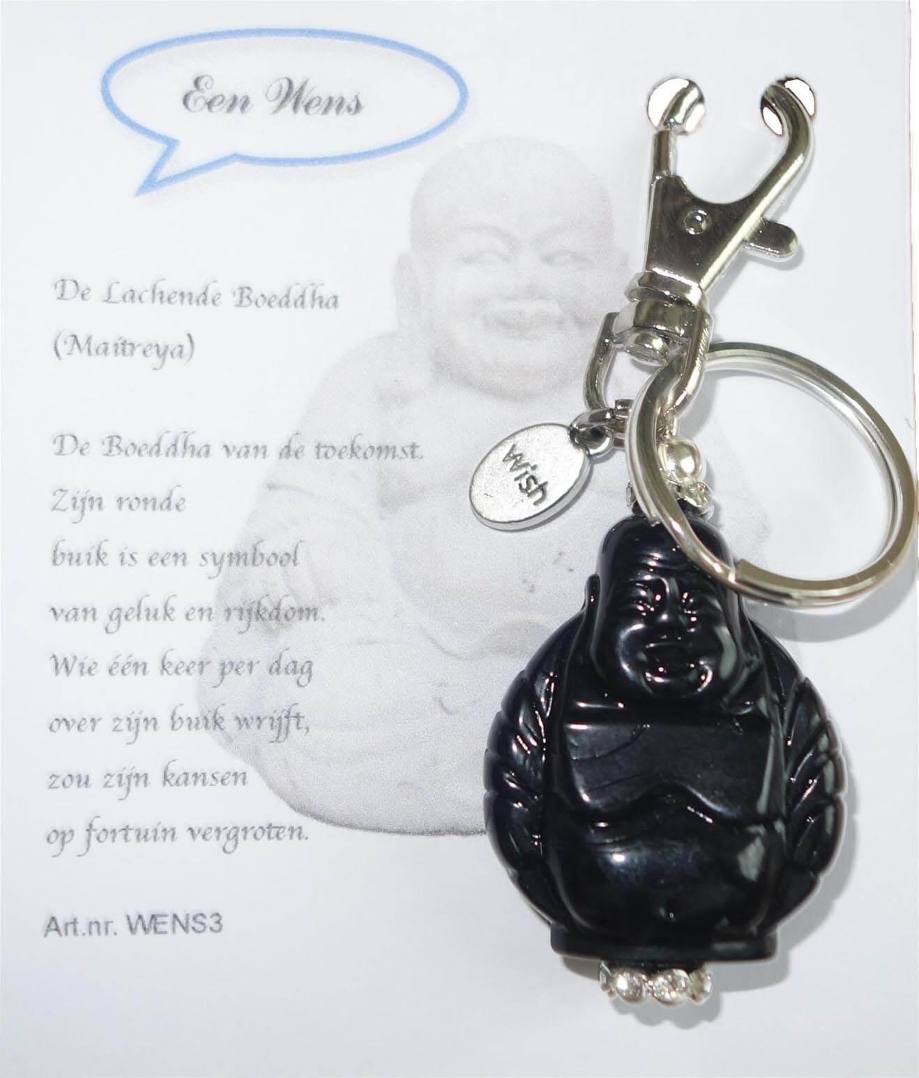 De Lachende Boeddha (Maitreya) Sleutelhanger Zwart-0