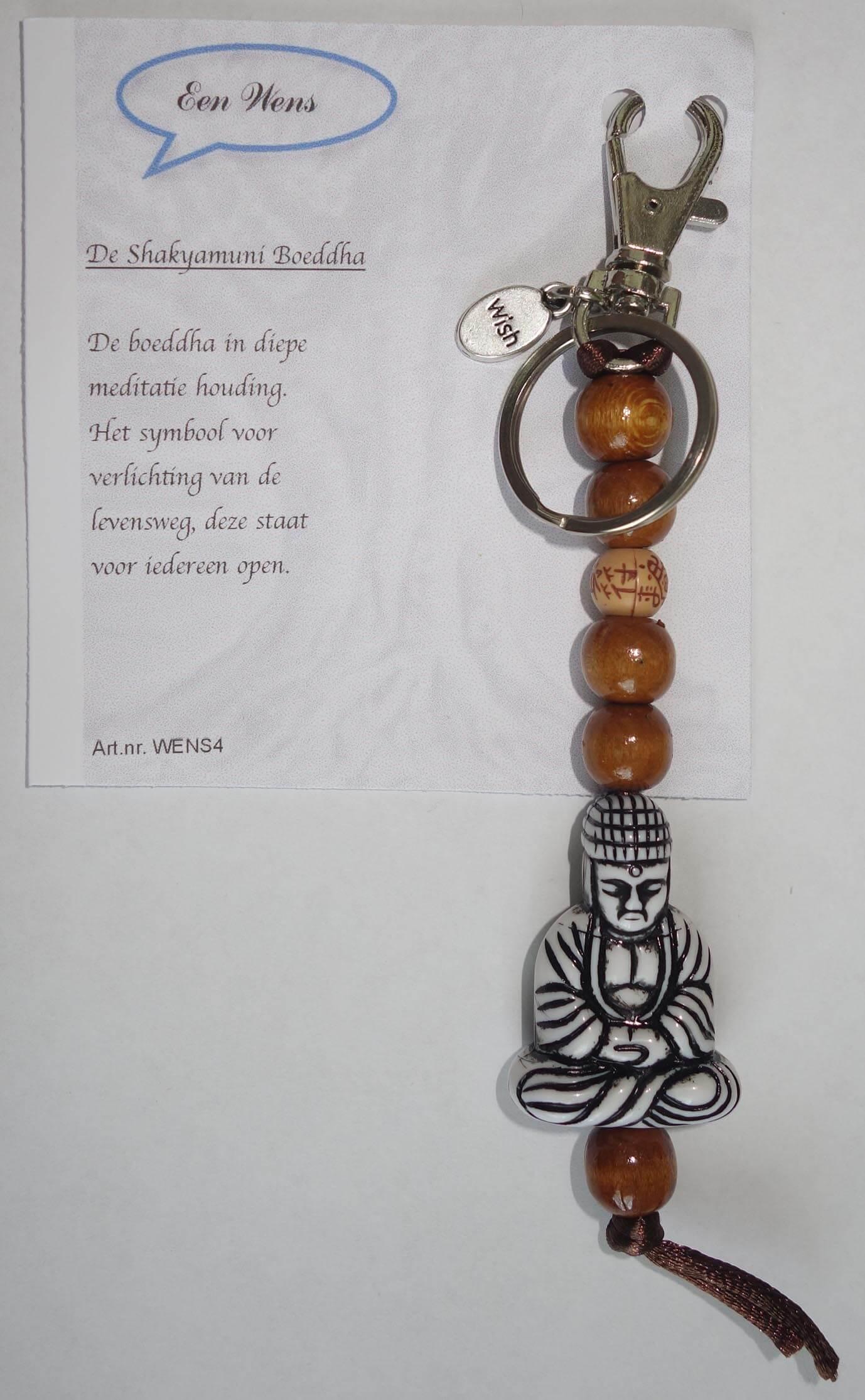 De Shakyamuni Boeddha Sleutelhanger Zwart/Wit-0