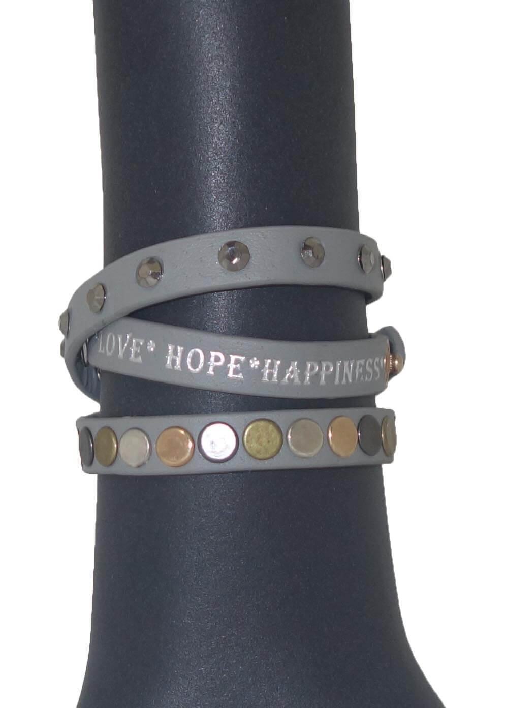 Love Hope Happiness Armband Grijs-0