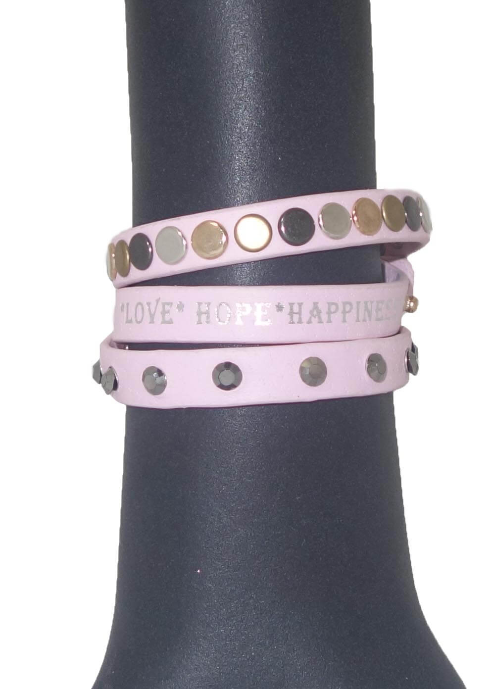 Love Hope Happiness Armband Roze-0