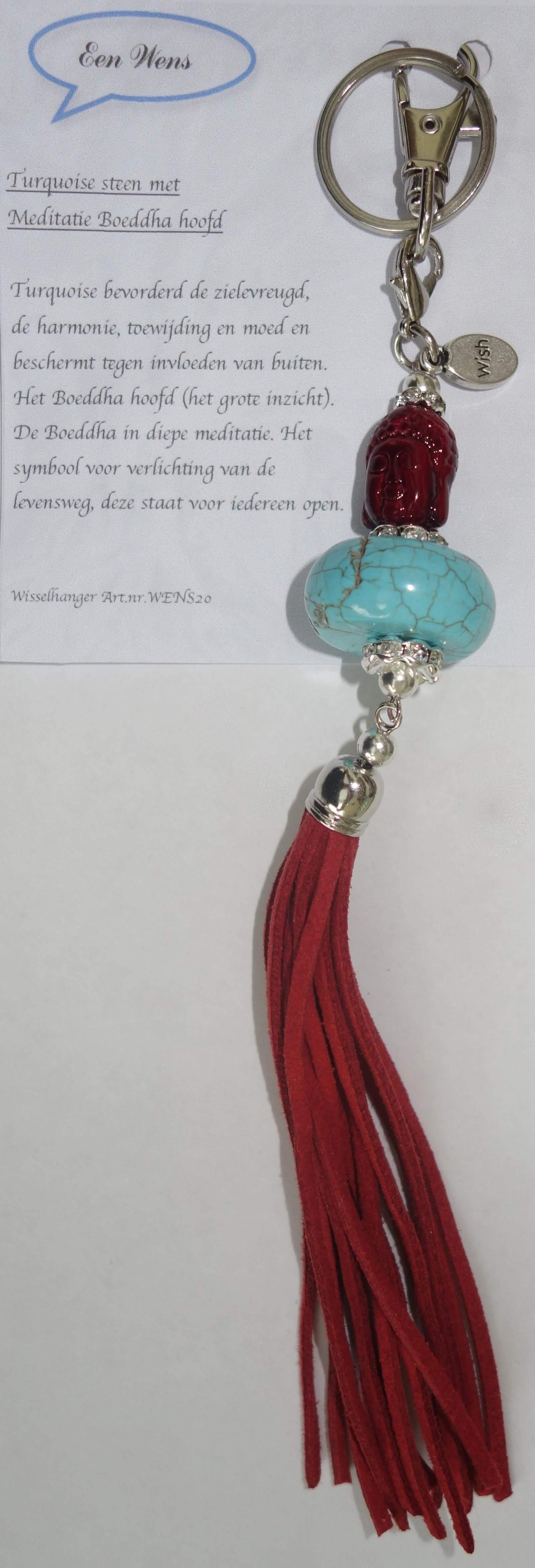Turquoise Steen met Meditatie Boeddha Hoofd Rood-0
