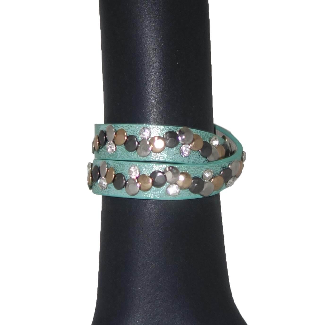 Armband met Studs en Strass Groen-0