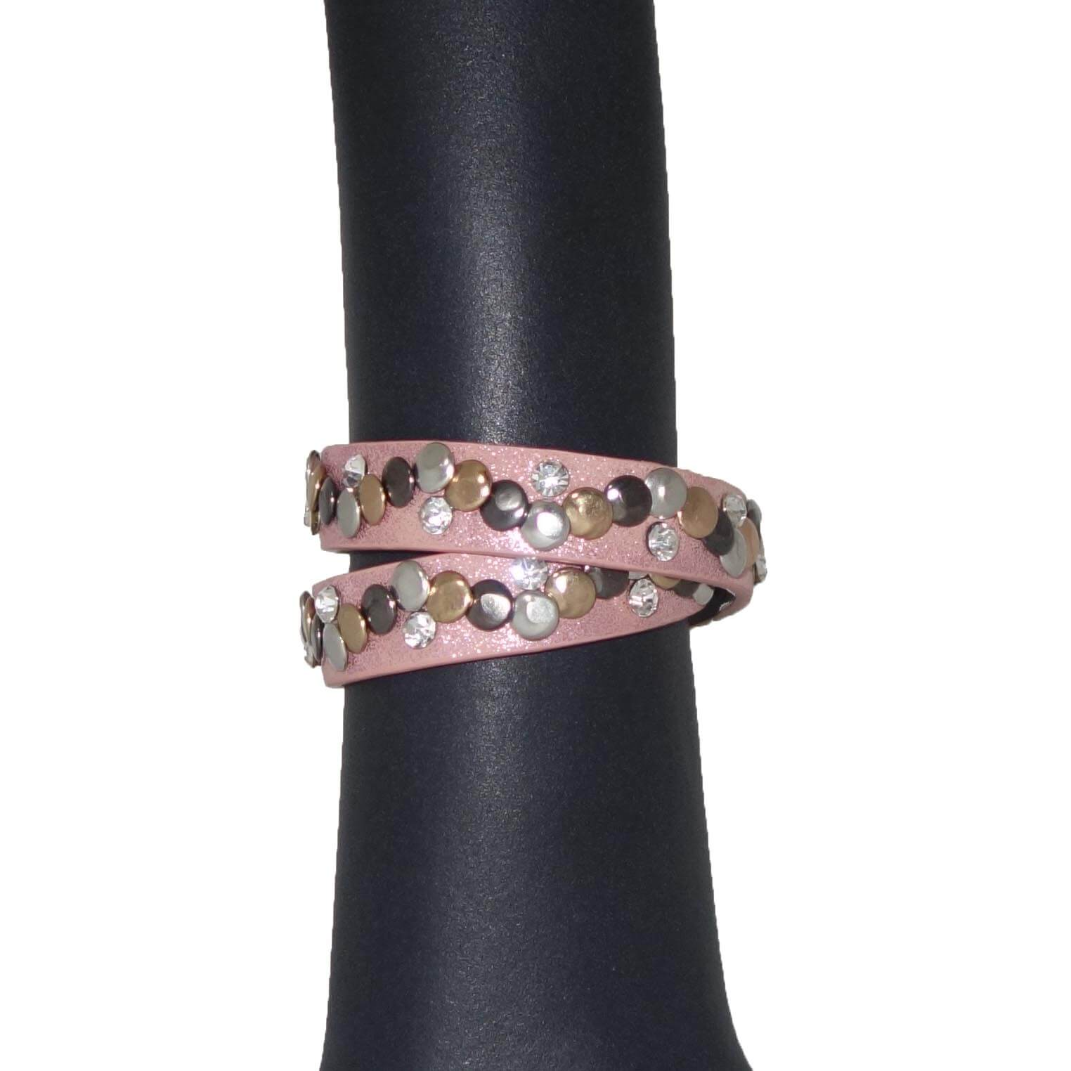 Armband met Studs en Strass Roze-0