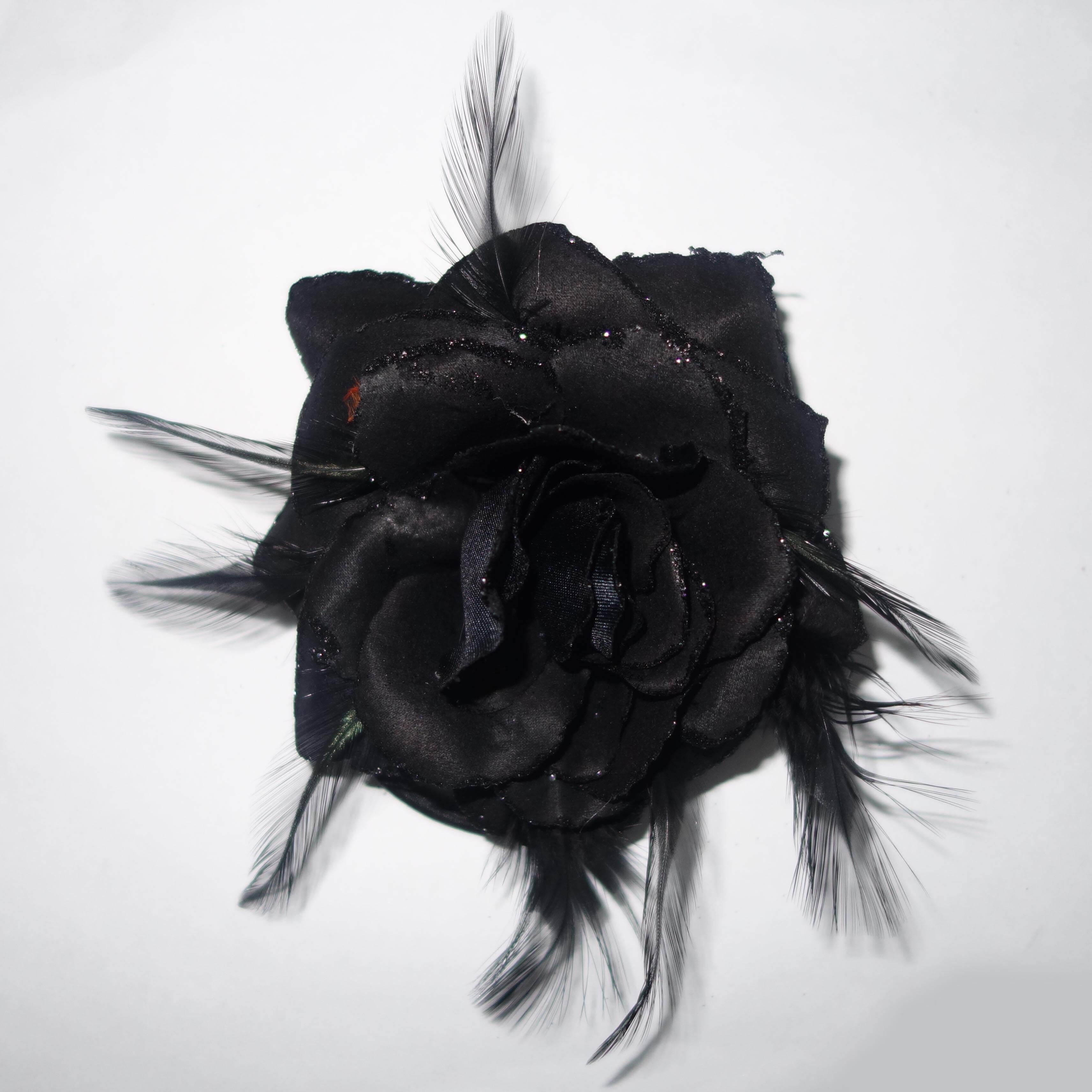 Haarroos / Corsage Zwart-0