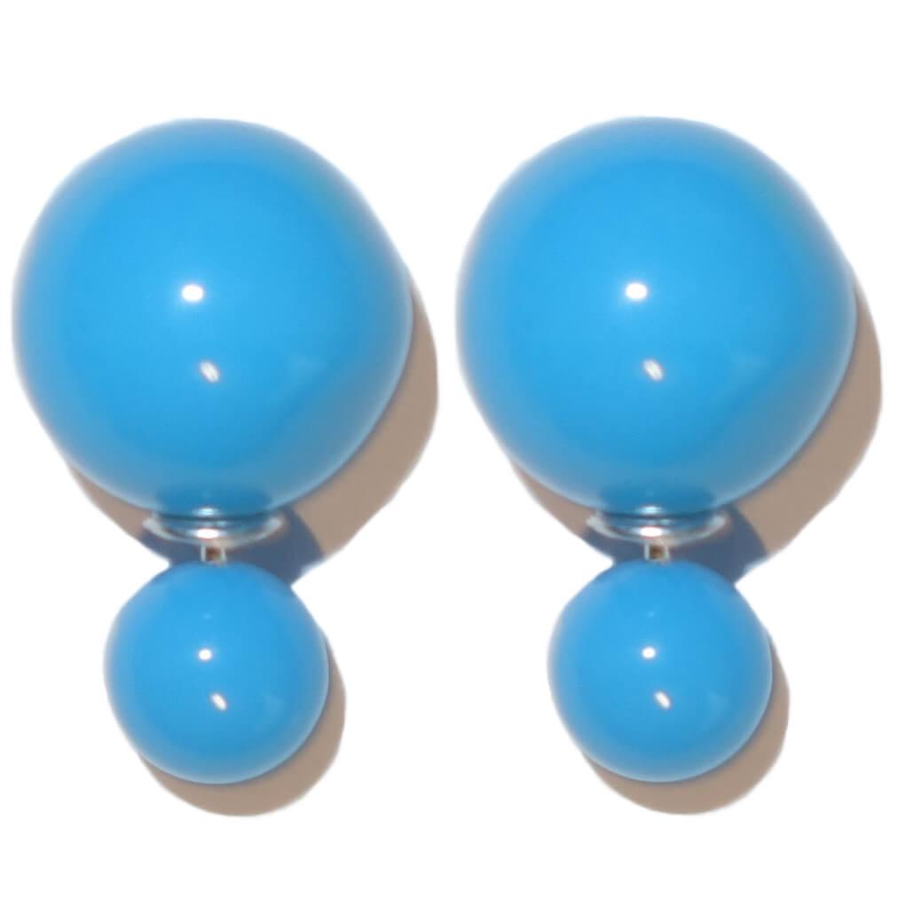 Dubbele Parel Oorbellen Blauw-0