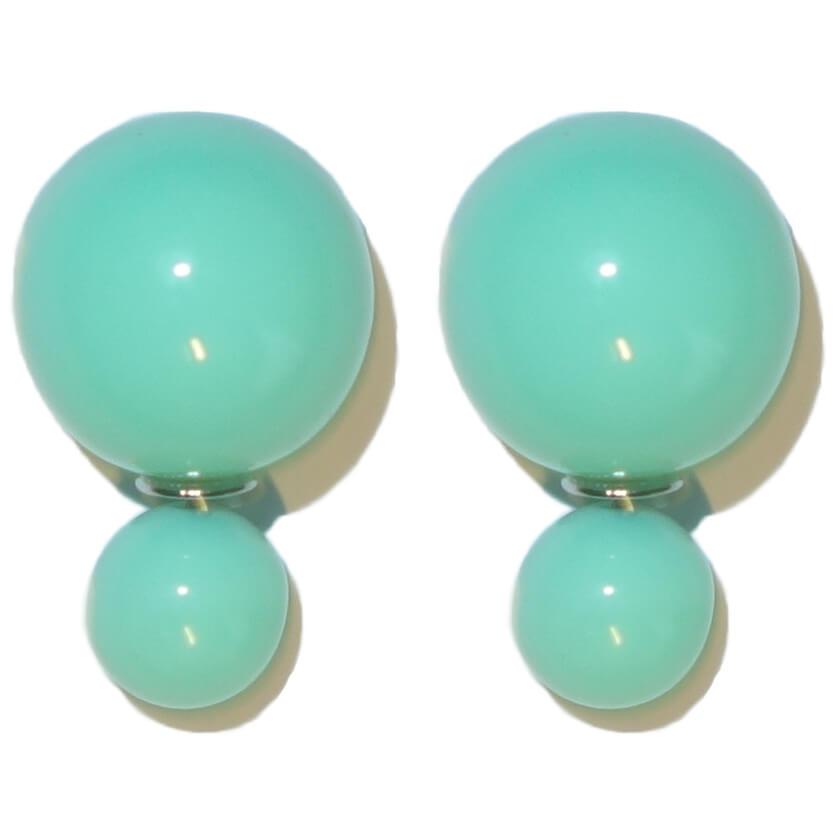 Dubbele Parel Oorbellen Lime Groen-0