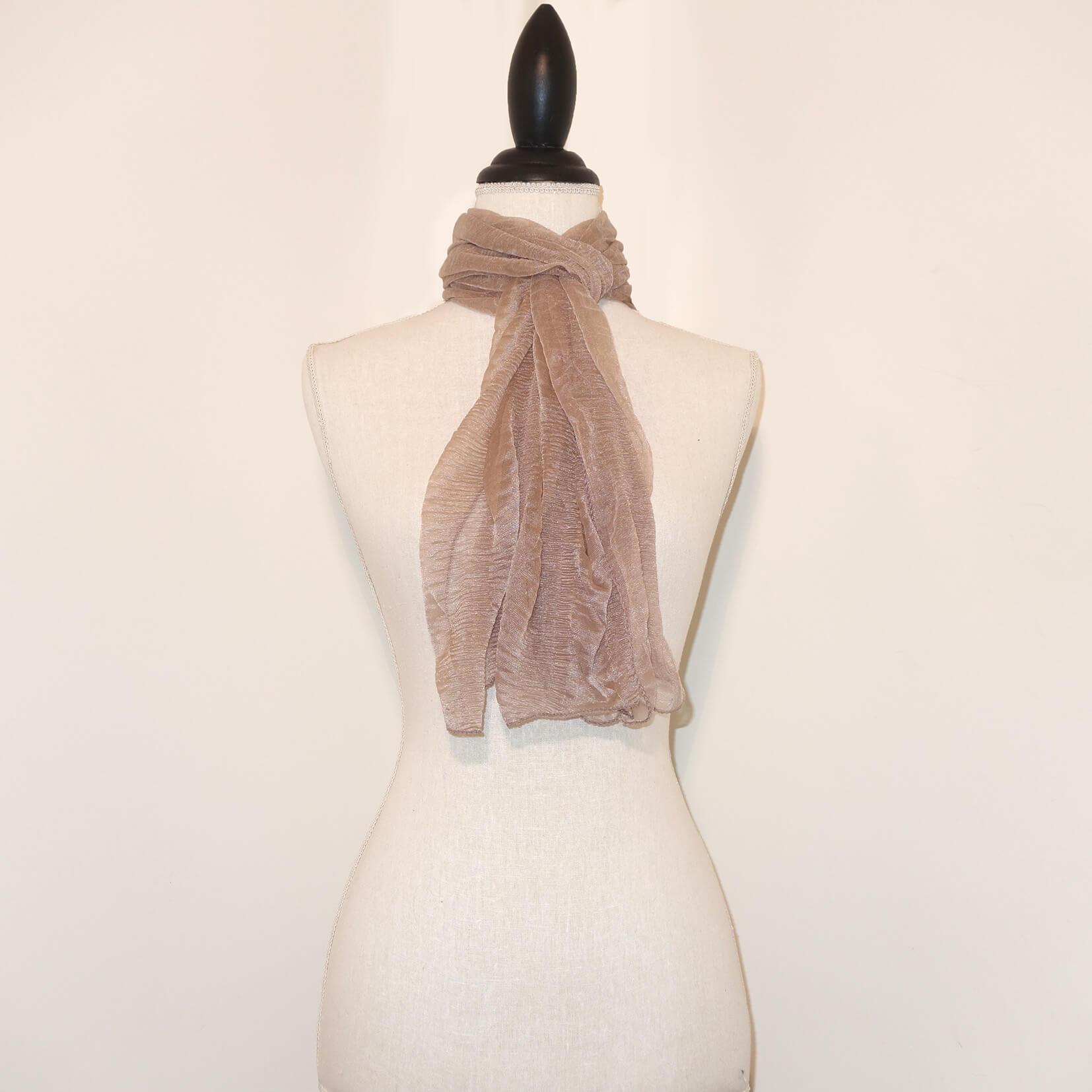 Beige Effen Langwerpige Sjaal-0