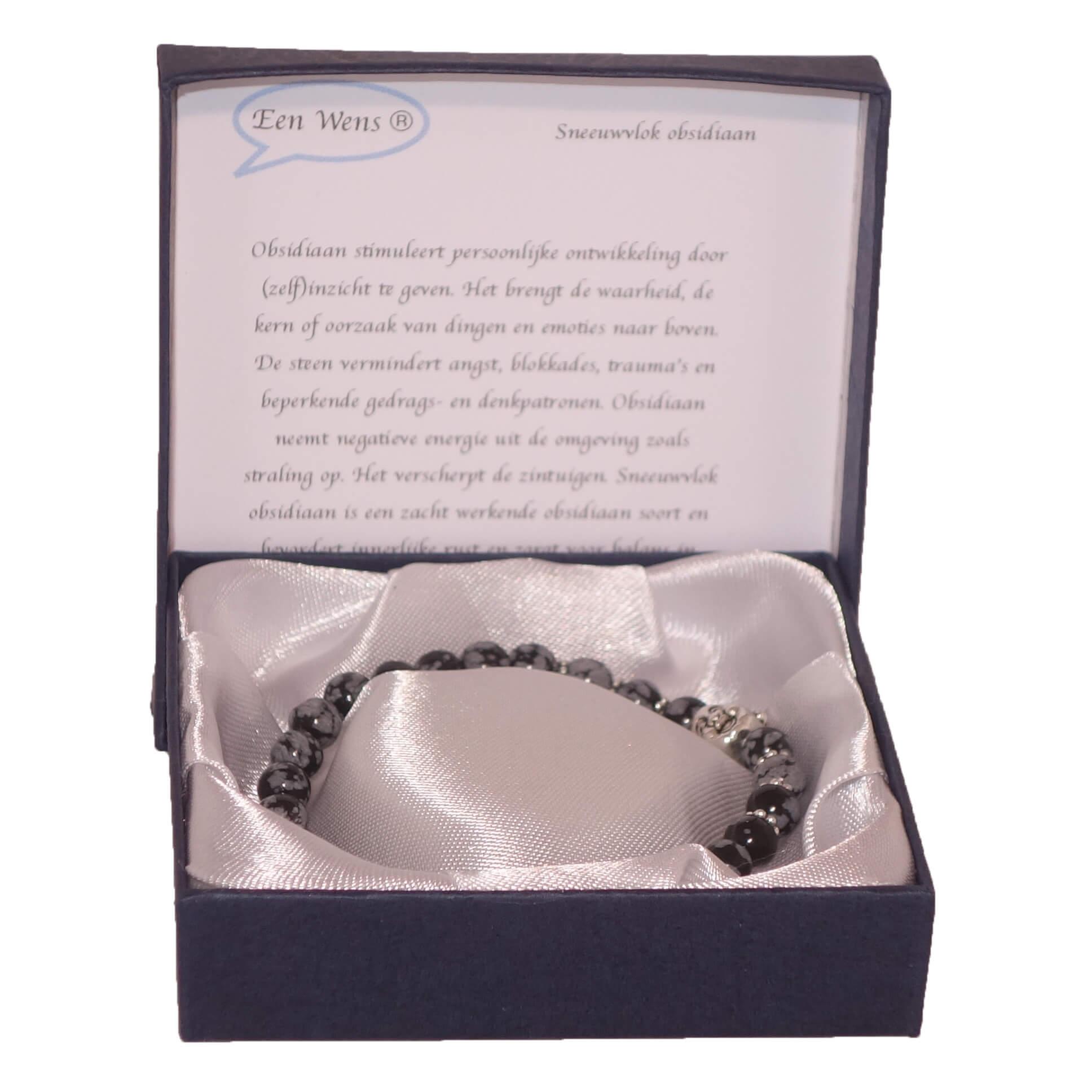 Halfedelstenen Armband in Geschenkdoos Sneeuwvlok Obsidiaan-0