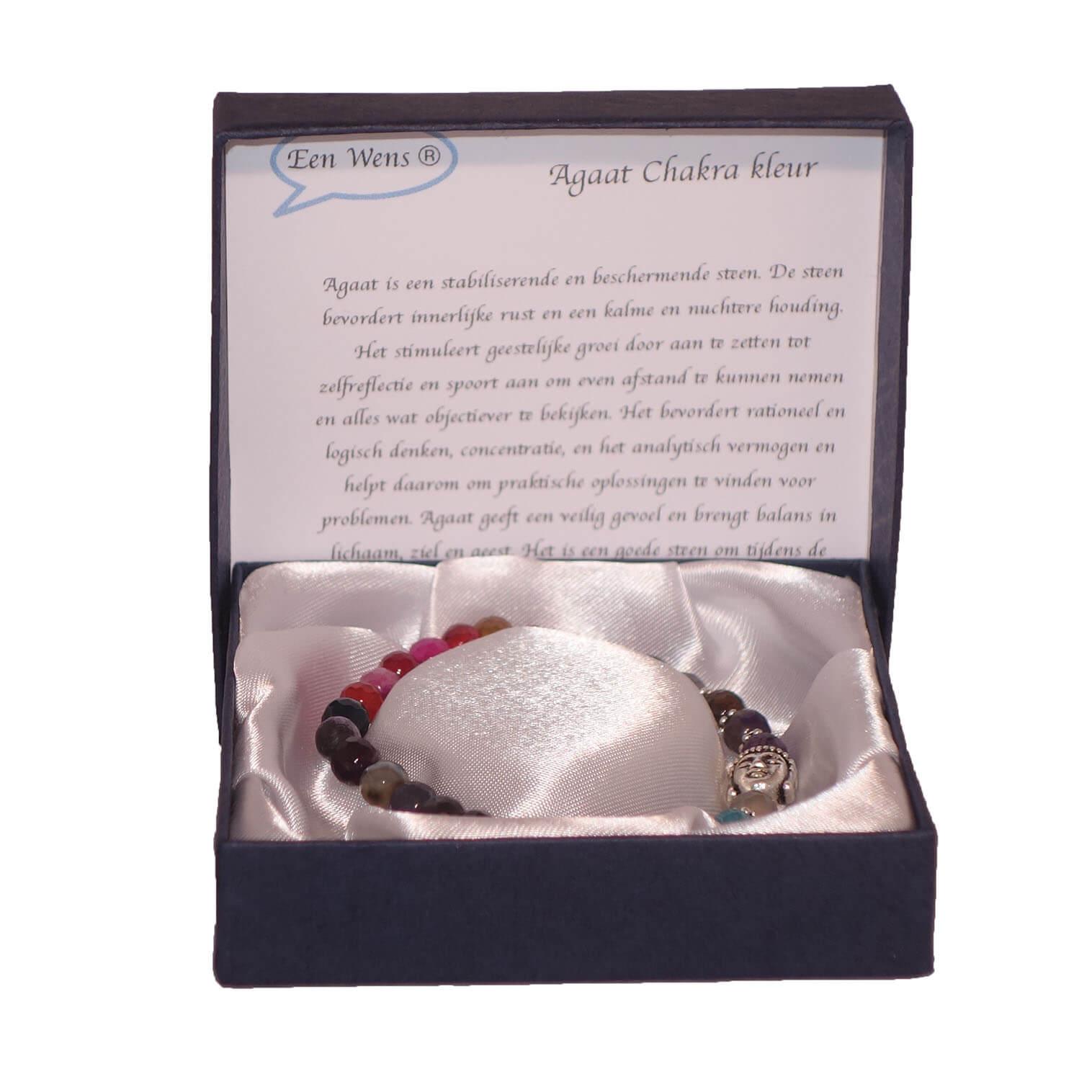 Halfedelstenen Armband in Geschenkdoos Agaat Chakra Kleur-0