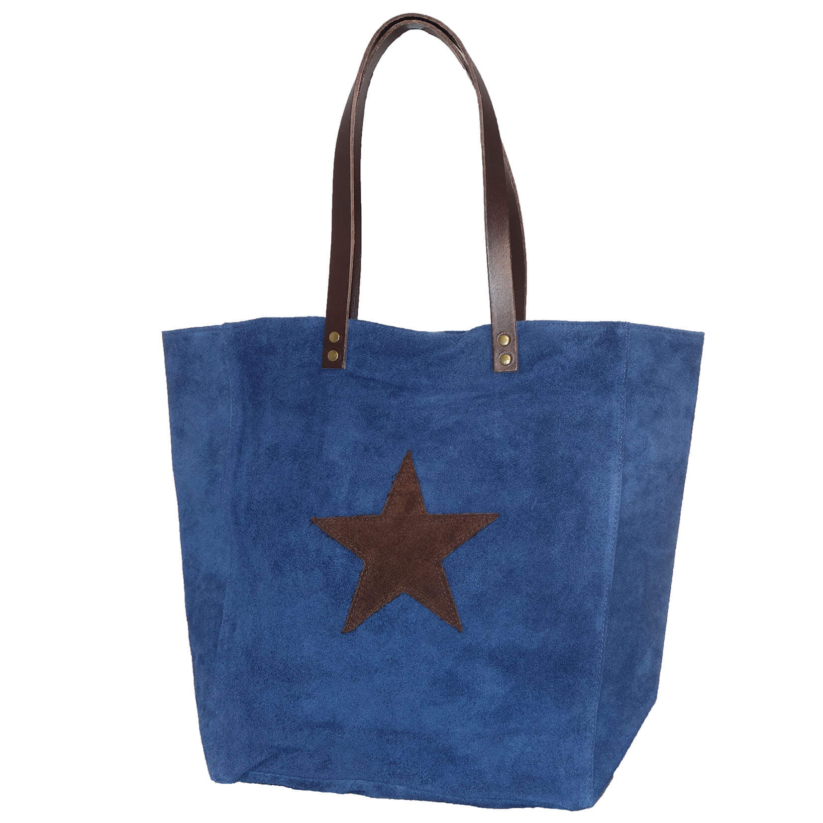 Véritable Shopper En Daim Avec Étoile Bleue 4EWSiLXLFx