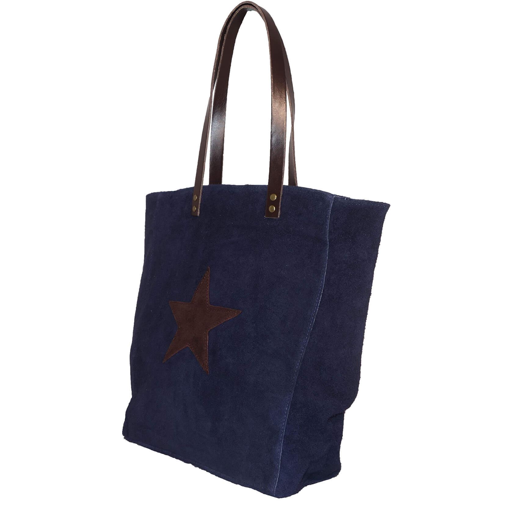 Echt Suède Shopper met Ster Donker Blauw-7707