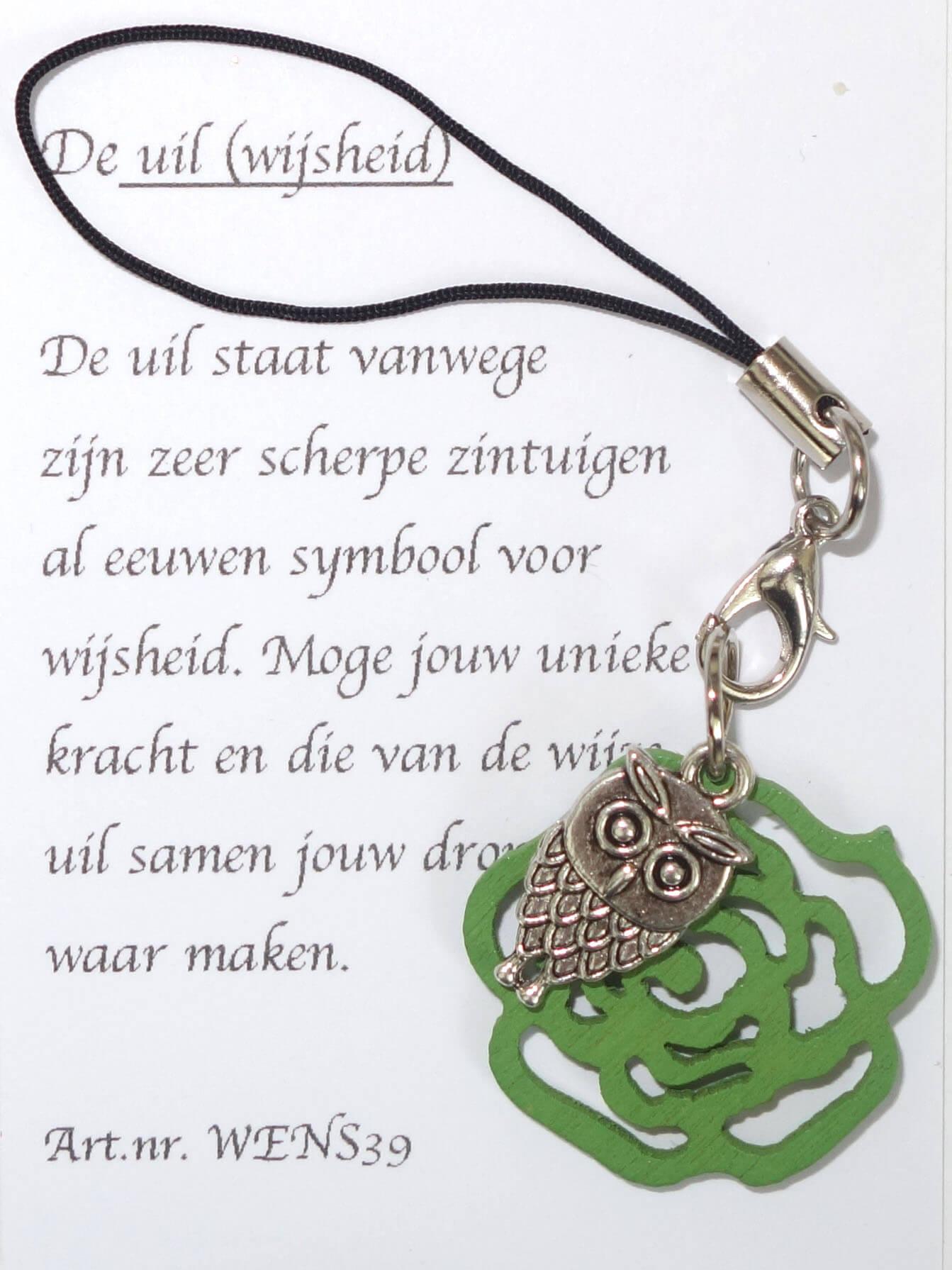 Uil Gelukshanger met Groene Roos-0