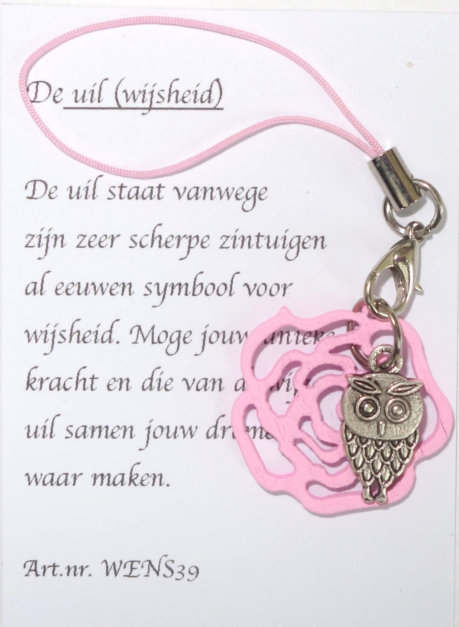 Uil Gelukshanger met Roze Roos-0