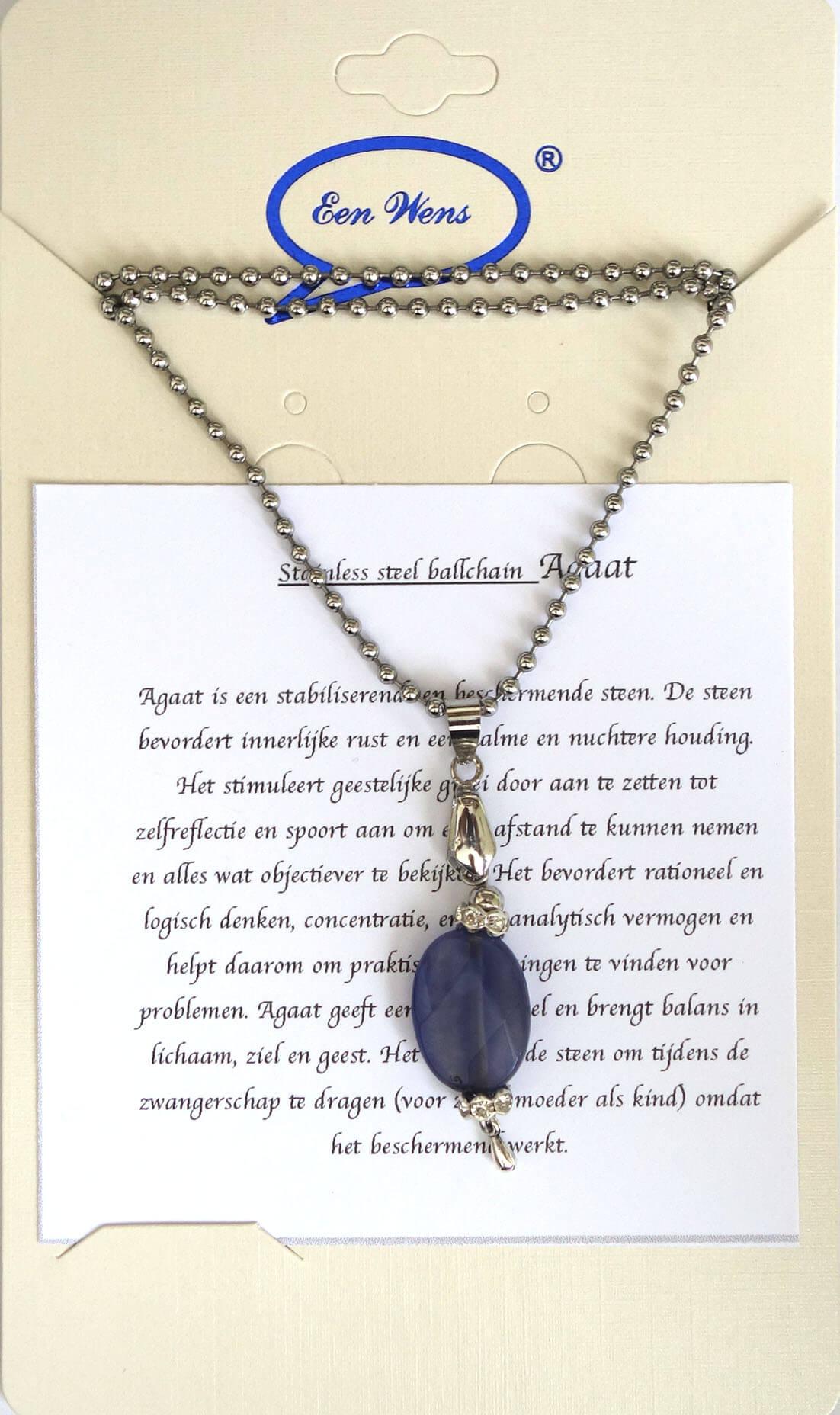 Halfedelstenen Ketting Agaat Blauw-0