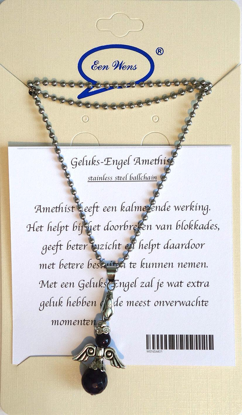 Halfedelstenen Geluks-Engel Ketting Amethist-0