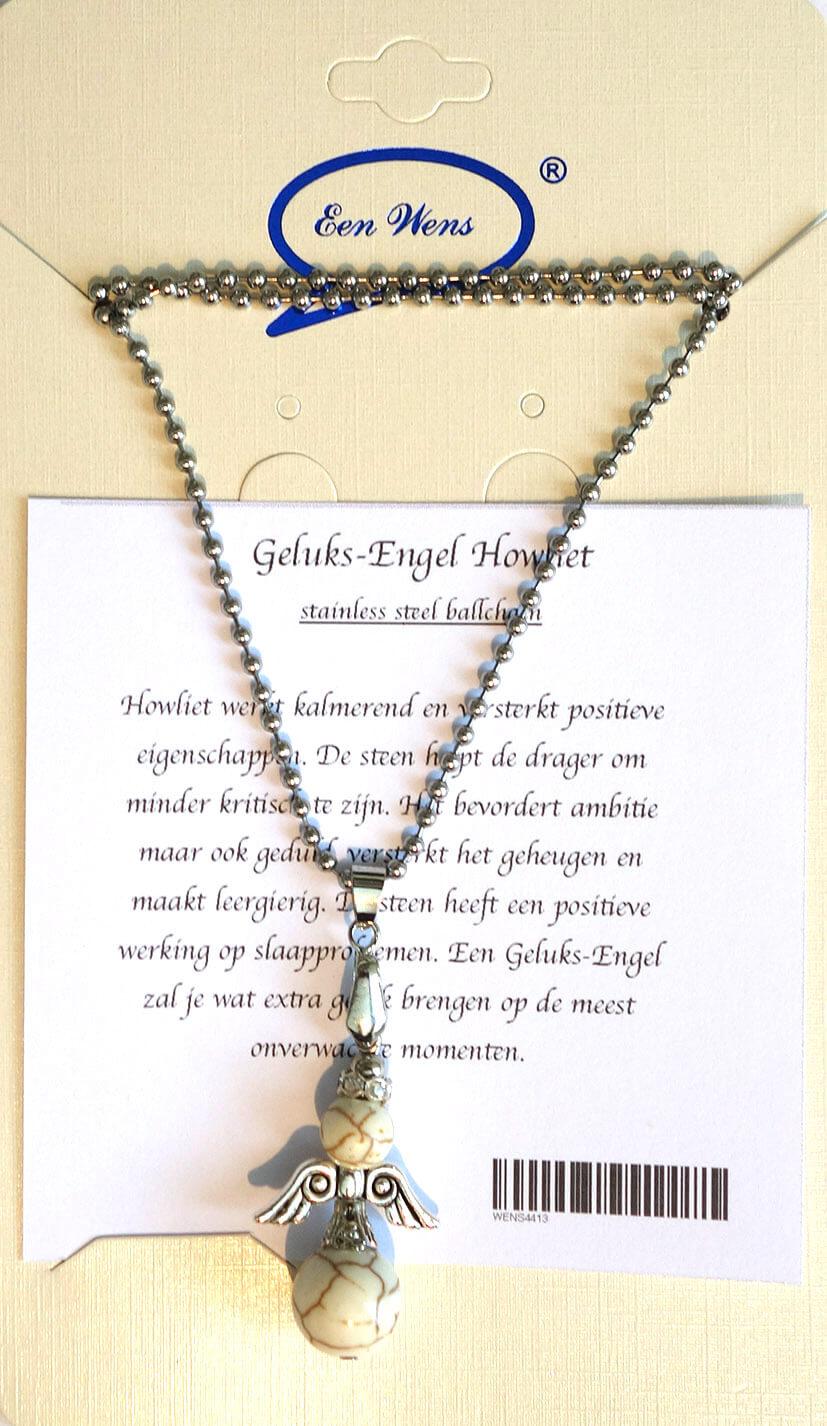 Halfedelstenen Geluks-Engel Ketting Howliet-0