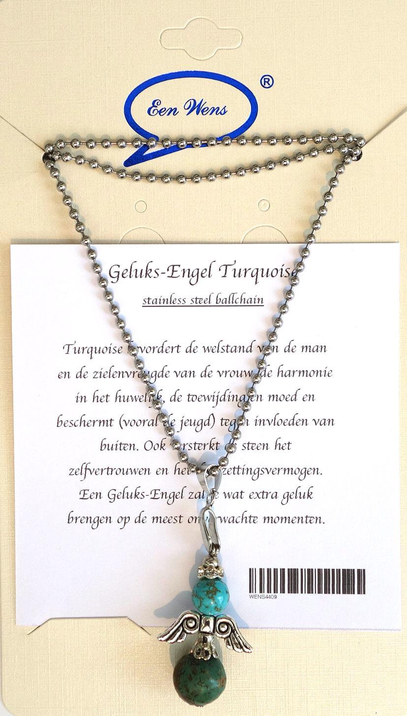 Halfedelstenen Geluks-Engel Ketting Turquoise-0