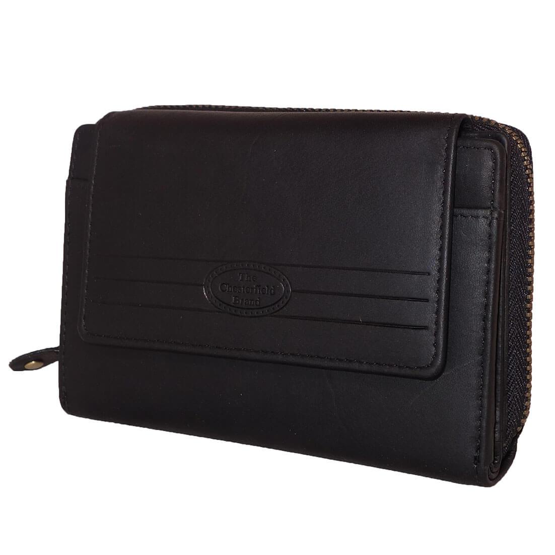 Chesterfield RFID Portemonnee met Drukknoop Zwart-0