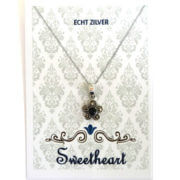 Sweethearts Echt Zilveren Bedel Zwarte Bloem