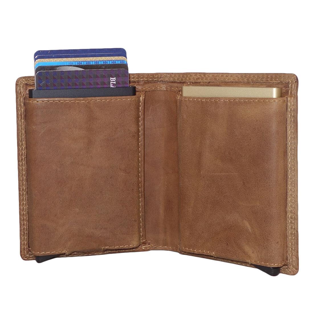 ec9d63b589e ... Leather Design Portemonnee met 2 Secrid Cardprotector Vakken Bruin-12825