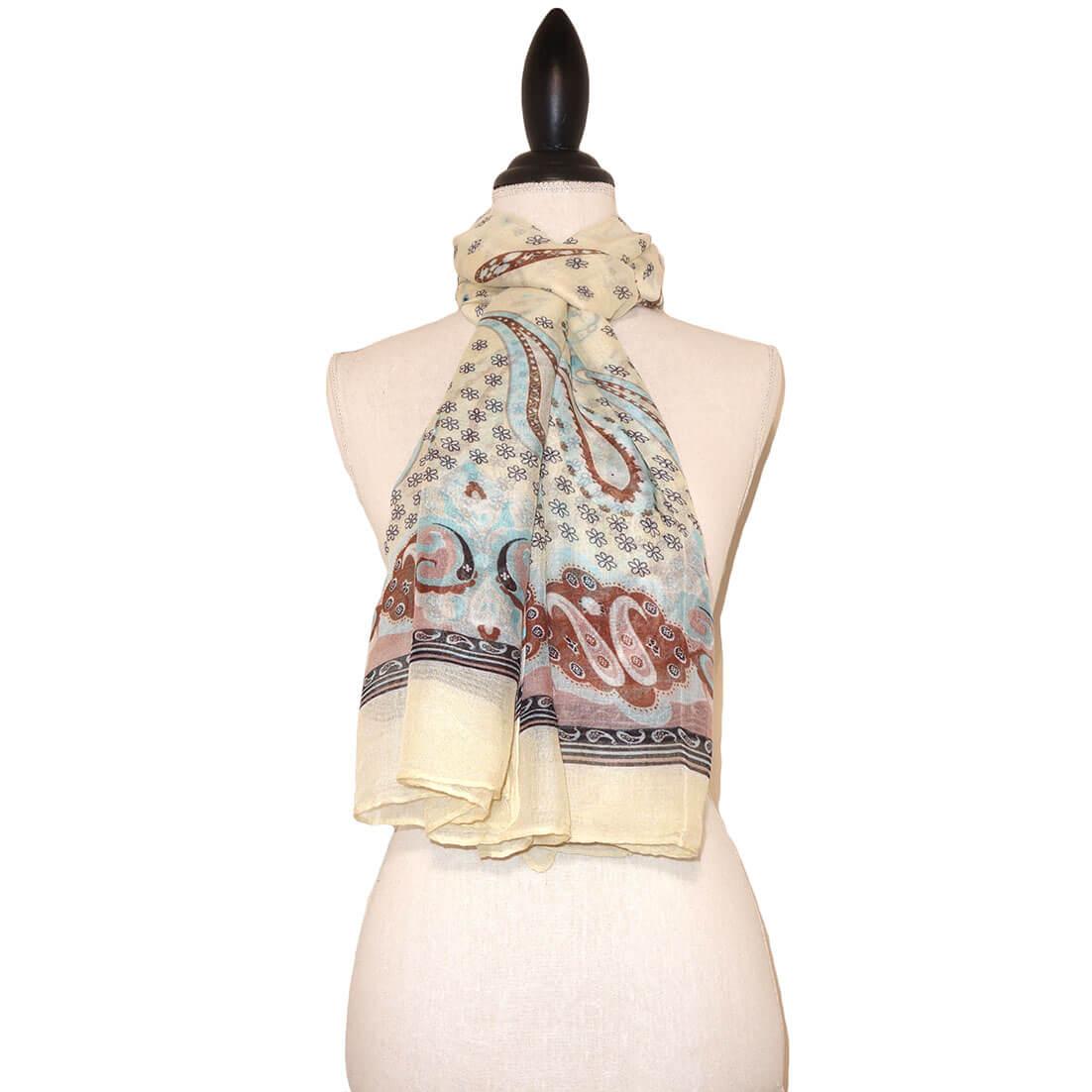 Langwerpige Lichtgele Sjaal met Mooie Print-0