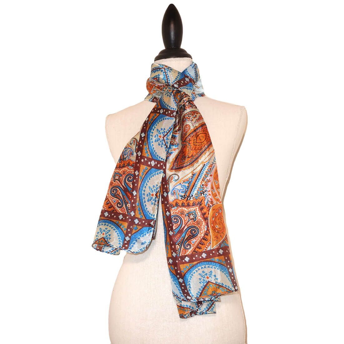 Langwerpige Oranje Zijde Sjaal met Mooie Print-0