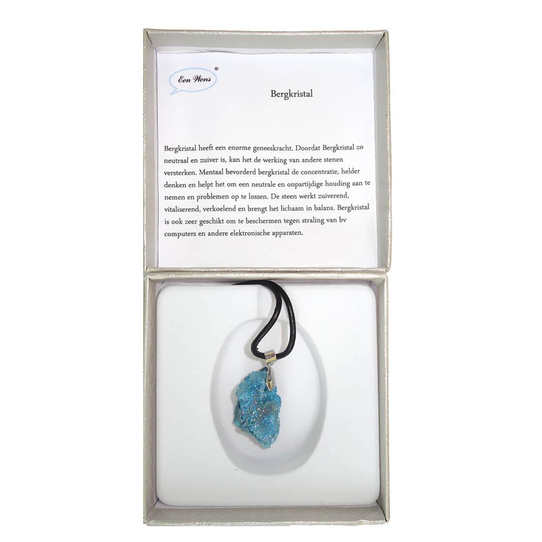 Ketting met Blauwe Bergkristal Geode-14244