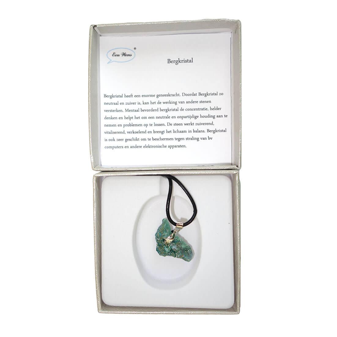 Ketting met Groene Bergkristal Geode-14247