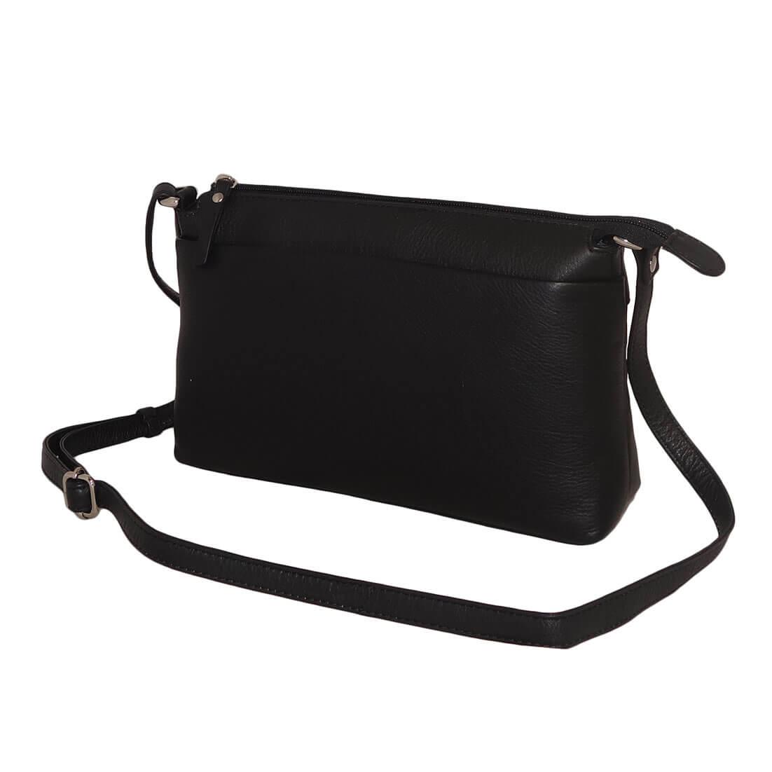 Leather Design Leren Schoudertas Zwart-0
