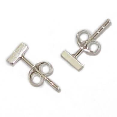 Echt Zilveren Mini Staafjes Oorstekers / Oorbellen Vierkant-14790