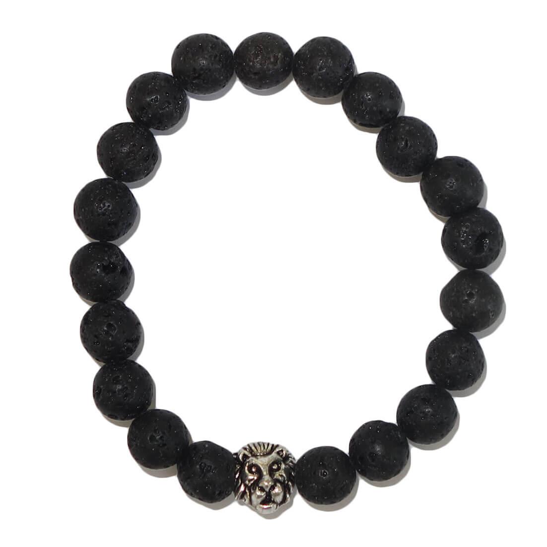 Halfedelstenen Armband met Leeuwenkop Lavasteen-0