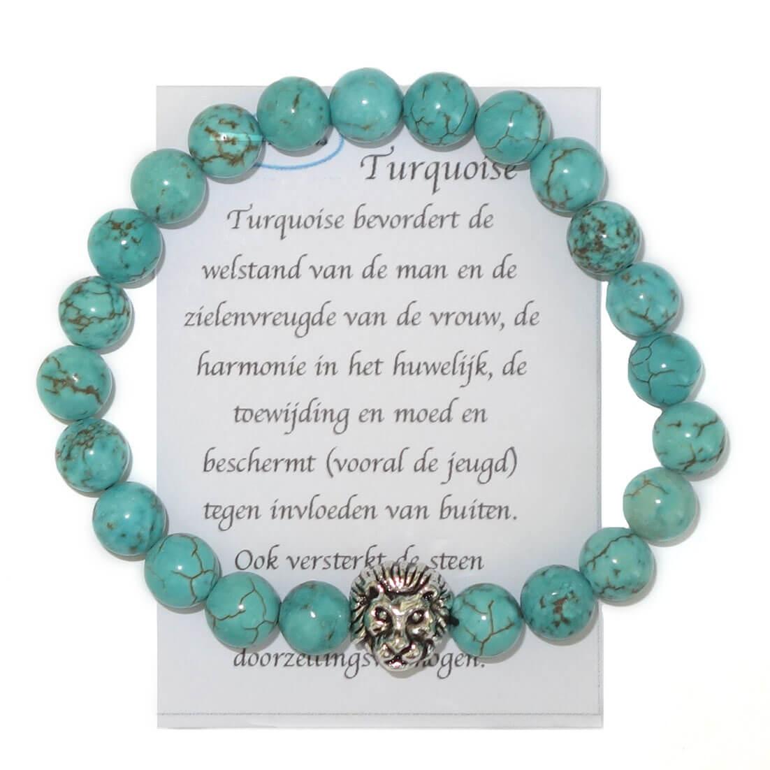 Halfedelstenen Armband met Leeuwenkop Turquoise-15869