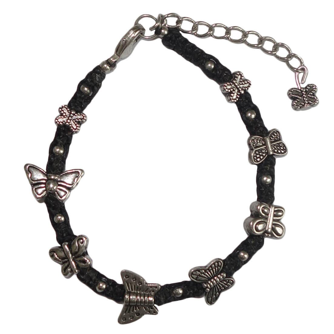 Pineapple Island Zwart Koord Armband met Vlinders-0