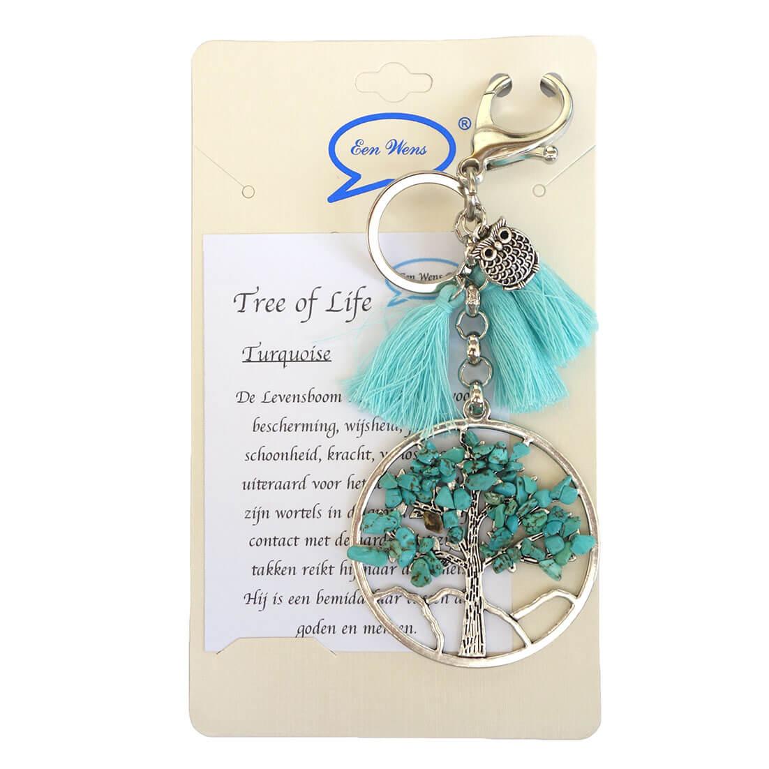 Tas/Sleutelhanger Tree of Life Turquoise-0