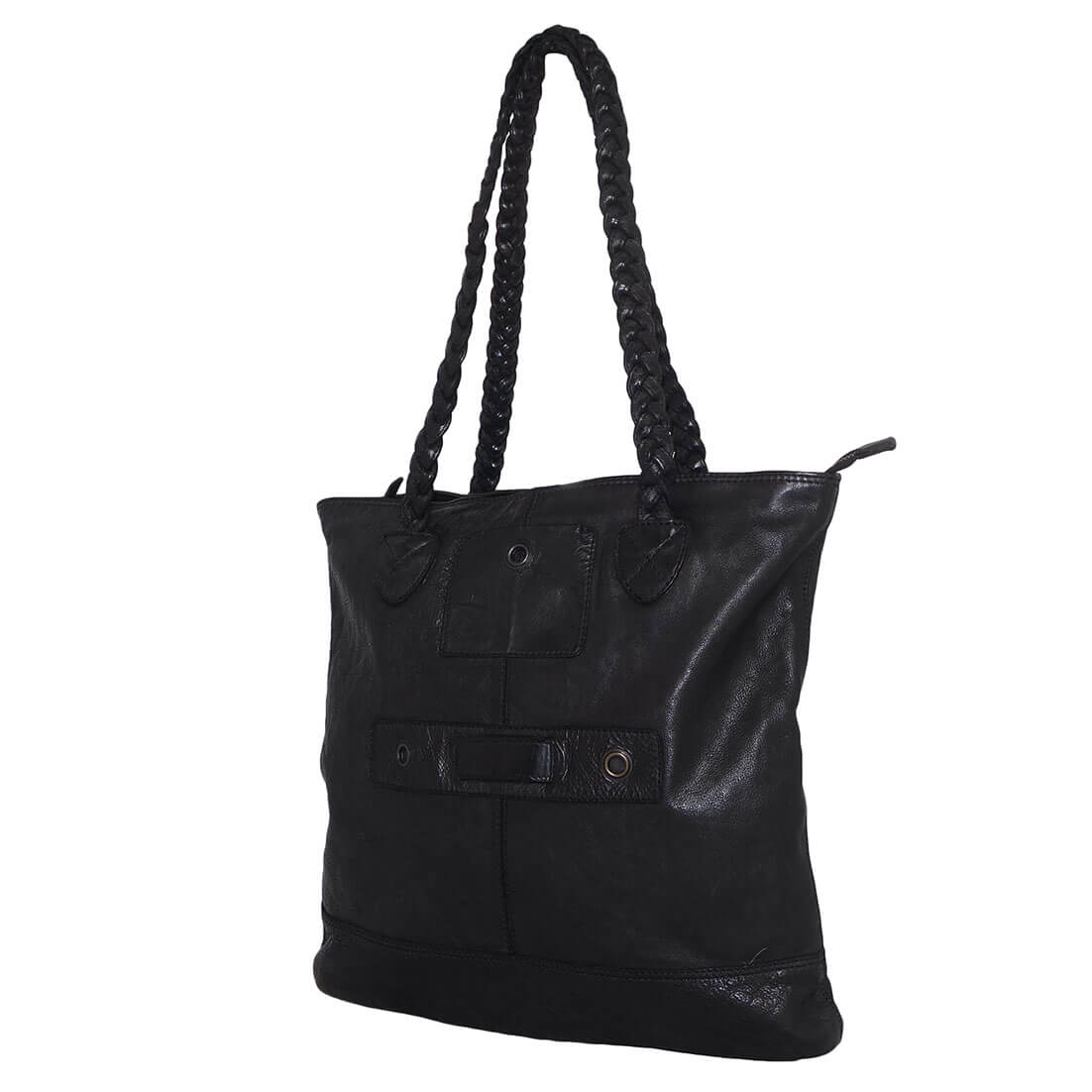 Bear Design Shopper Braided Zwart-0