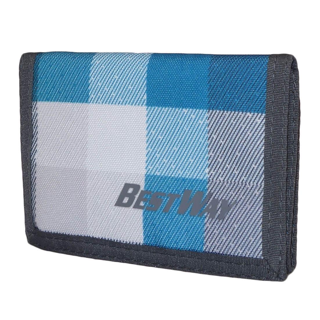 Bestway Portemonnee met Klittenbandsluiting Ruit Licht Blauw-0
