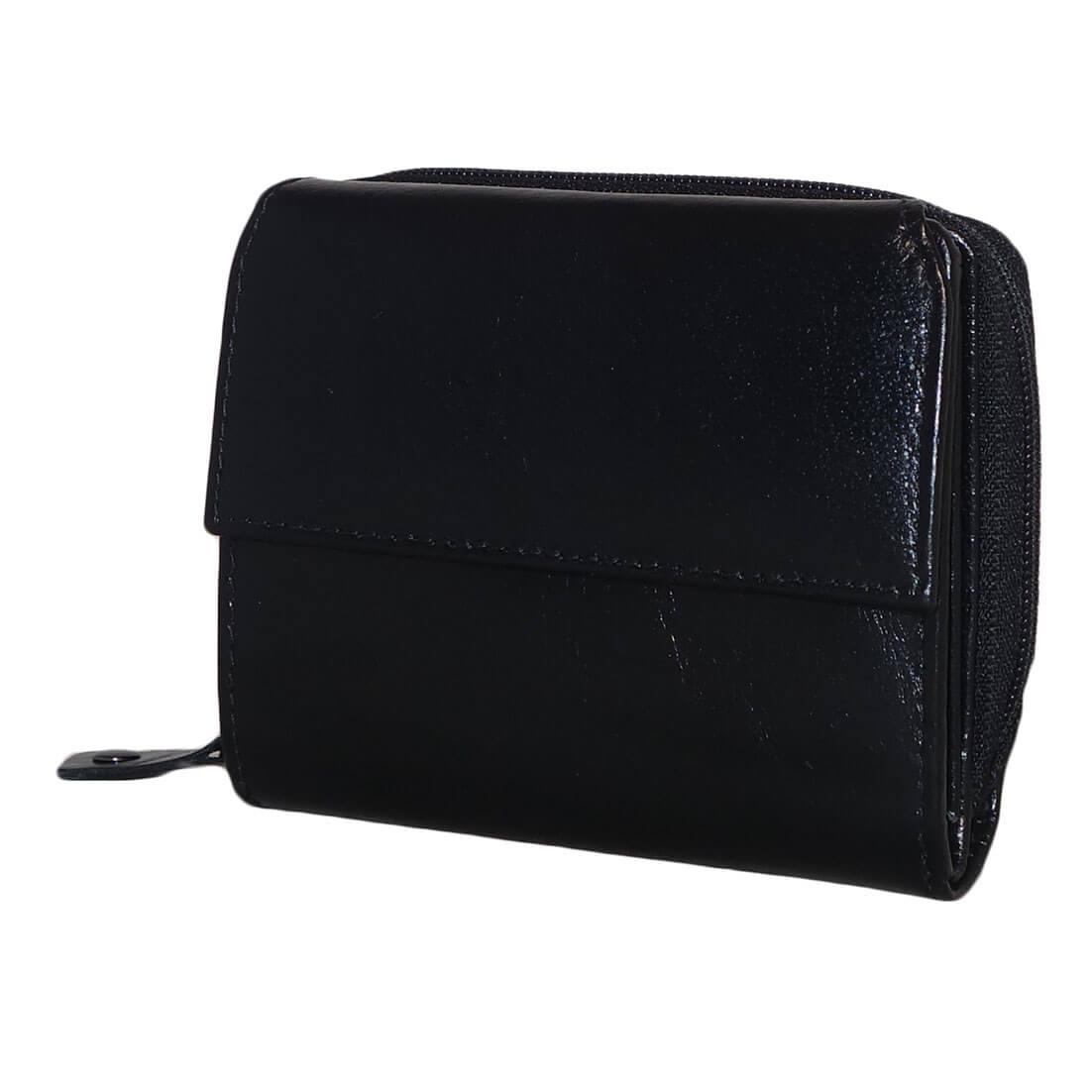 Czanne Zip Around Portemonnee met Overslag Zwart-0