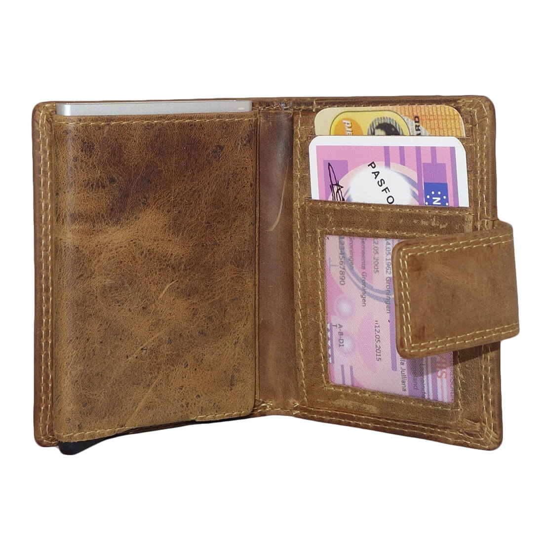 f966d2d9126 ... Leather Design Portemonnee met Ritsvakje en Secrid Cardprotector Vak  Bruin-17624 ...