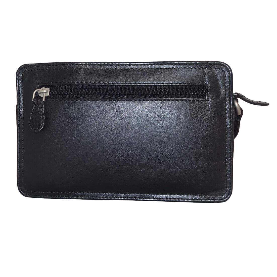 e9994a3de3d ... Leather Design Leren Polstas Zwart met 3 Vakken-17931 ...