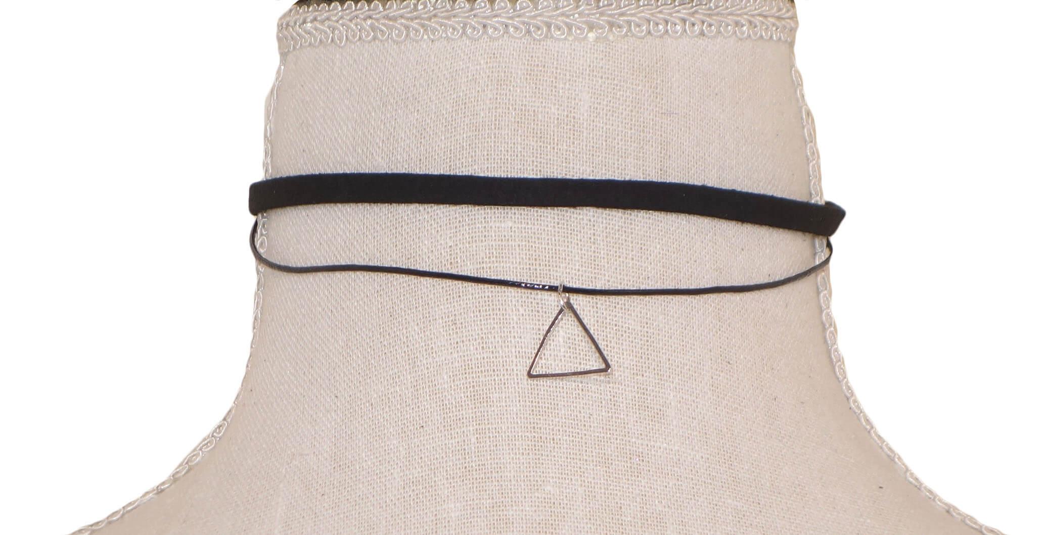 Dubbele Choker met Minimalistisch Driehoekje-0